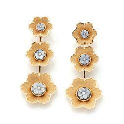 Diluca vergulde oorbellen bloemen cameeën