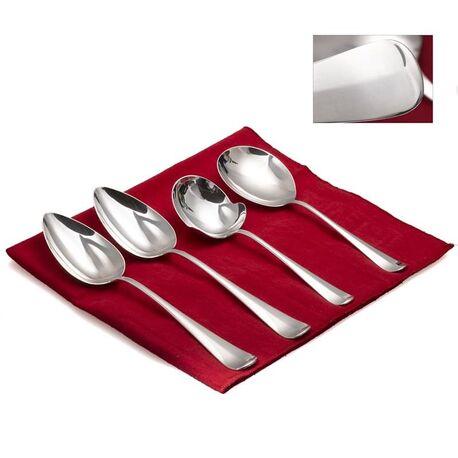 Dienbestek zilver Haags lofje 2 groentelepels, aardappellepel en een brijlepel zilver Zilver.nl
