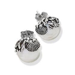 Zilveren pareloorbellen platte witte parel met zilveren schelpje en koraal van Raspini bij Zilver.nl