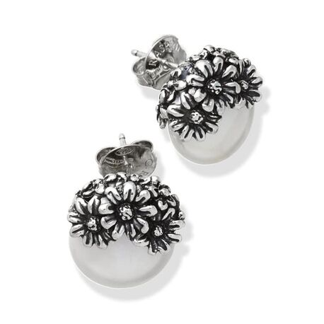 Zilveren pareloorbellen met bloemen, madeliefjes van Giovanni Raspini bij Zilver.nl