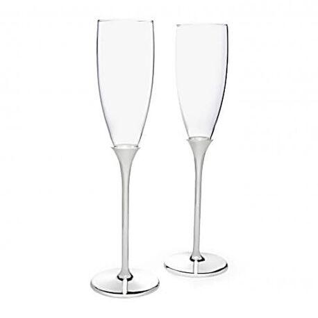 Stel verzilverde champagneglazen Smooth 752761 Zilverstad bij Zilver.nl