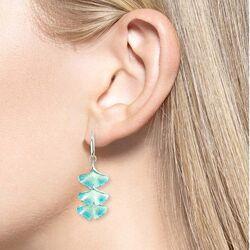 Nicole Barr turkoois zilveren oorbellen ginkgo