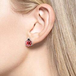Nicole Barr lieveheersbeestje oorstekers emaille zilver ne0133ya