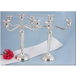 5 lichts zilveren kandelaar op voet met filetrand