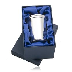 modern design zilveren baby drinkbeker met parelrand