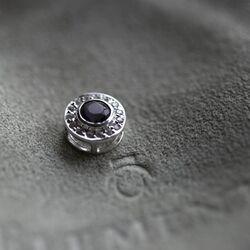 Setje oorbellen met hanger paars wit zirconia van Elements