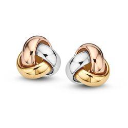 Oorsteker tricolor gouden oorbellen