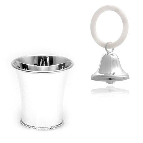 Zilveren geboortepakket kinderbeker en rammelaar bel parelrand