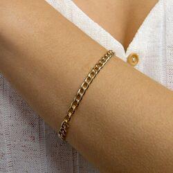 Geelgouden gourmet armband 19 mm lang 5,5 mm