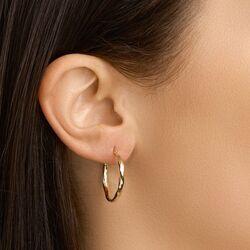Geelgouden oorringen gedraaid patroon 23-28 mm