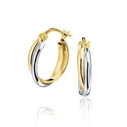 Bicolor 14 karaats gouden oorringen 18 x 4 mm