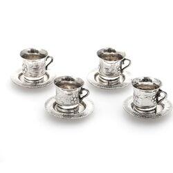 miniatuur zilveren kopjes en schoteltjes Nederlands rond 1900.