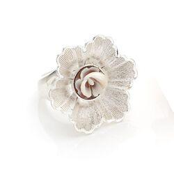 Diluca zilveren ring bloem met camee A126-B