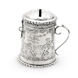 antieke zilveren spaarpot Hooijkaas 1901