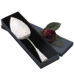 Zilveren taartschep bladvormige schep antiek zilver
