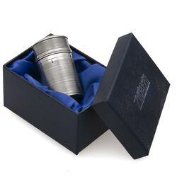 Nootmuskaat rasp zilveren doosje antiek ribpatroon