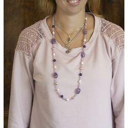 Lelune collier paars amethist lavendel jade en parels LGNK206