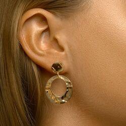Vergulde ronde oorbellen gehamerd