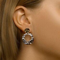 Zilveren ronde oorbellen gehamerd