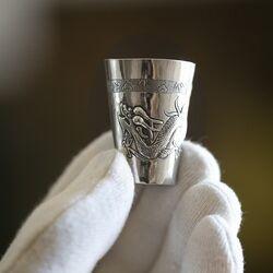 Snaps bekertje zilver met afbeelding van een draak