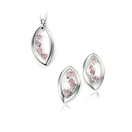 Zilver hanger met oorbellen roze zirconia van Elements Silver