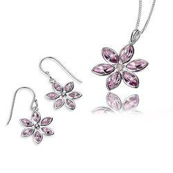 Elements oorbellen en hanger bloem zirkonia
