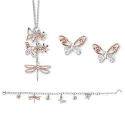 Elements set rosé bloem vlinder libelle