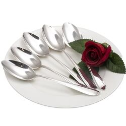 5 Dessert / ontbijtlepels puntfilet zilver van De Koninklijke van Kempen & Begeer