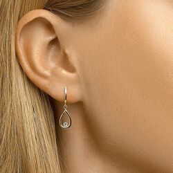 Geelgouden oorstekers druppel zirkonia