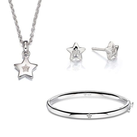Little Star set bangle met kettinkje ster diamant