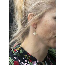 Leoni geelgouden sieradenset Ginkgo oorbellen met hanger