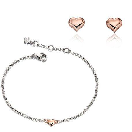 Little Star oorbellen en armband rosé hartje