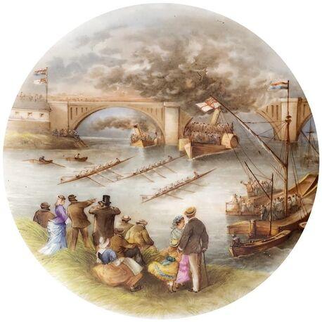 Porseleinen schotel zilveren hengsel Amsterdam 1876 historische afbeelding roeiwedstrijd