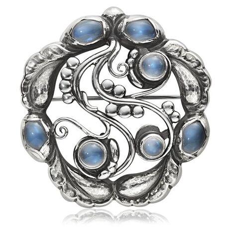 Georg Jensen zilveren broche Moonlight 159 met maansteen 3531541
