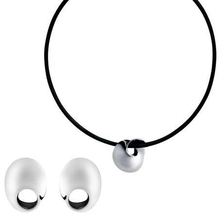 Set oorbellen met hanger Möbius van Georg Jensen