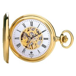 Royal London verguld zakhorloge Half Huner Skelet