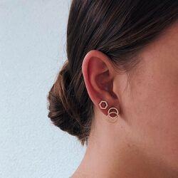 Verguld titanium collier met oorbellen zeshoek La Figura van Boccia