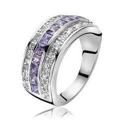 Zilveren ring paars en wit zirconia ZINZI ZIR307p