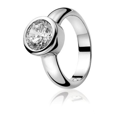 Zilveren ring wit zirconia ZINZI ZIR050