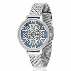 Julie Julsen stalen horloge Heart Crystal zilver