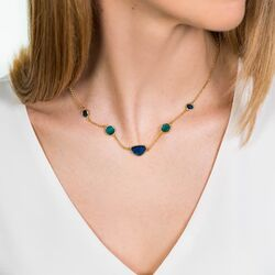 Zinzi sieradenset blauw en groene kleursteen