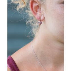 Rose oorbellen met granaat Fiorelli 9 krt