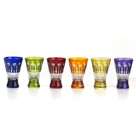 Tatiana Fabergé kristallen shotglaasjes multicolor set van 6
