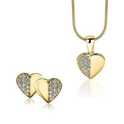 Zinzi Gold oorbellen en hanger hart met zirkonia