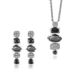 Zinzi sieradenset zwart en grijs kleursteen