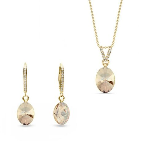 Verguld zilver sieradenset Oval Chic van Spark Jewelry
