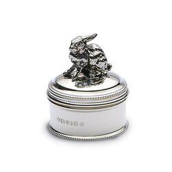 Zilveren doosje met konijn