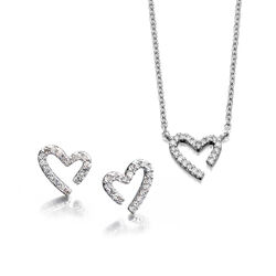 Sieradenset open hart diamant Fiorelli