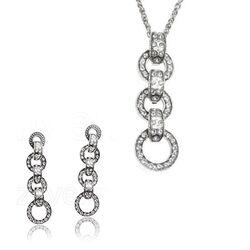 Zilver sieradenset cirkels Swarovski GL Timeless