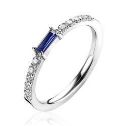 Zinzi zilveren ring blauwe baguette zirkonia ZIR2133B